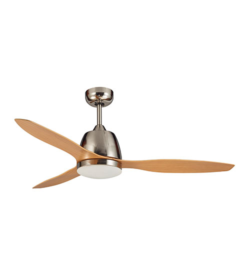 """Martec Elite 48"""" Ceiling Fan with 20W LED Light CCT Switch - Brushed Nickel with Bamboo Finish Blades"""