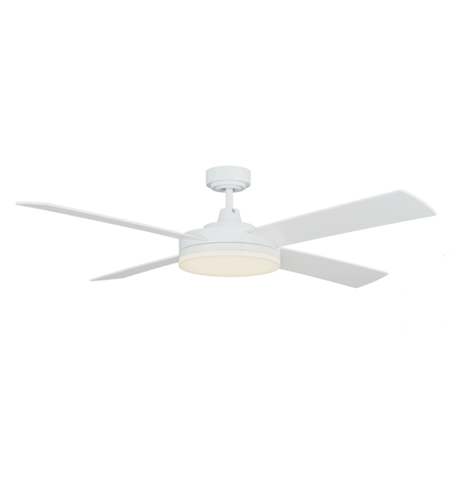 "Martec Razor 52"" Ceiling Fan With 28W Warm White LED light - White"