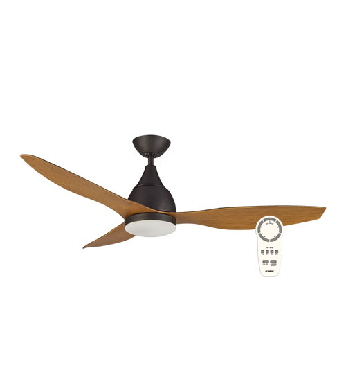 "Martec Vantage 52"" DC Motor Ceiling Fan with 20W LED Light CCT Switch & Remote Control - Old Bronze with Merbau Finish Blades"