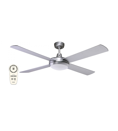 "Martec Lifestyle 52"" DC Motor Ceiling Fan with 24W Cool White LED and Remote Control - Brushed Aluminium"