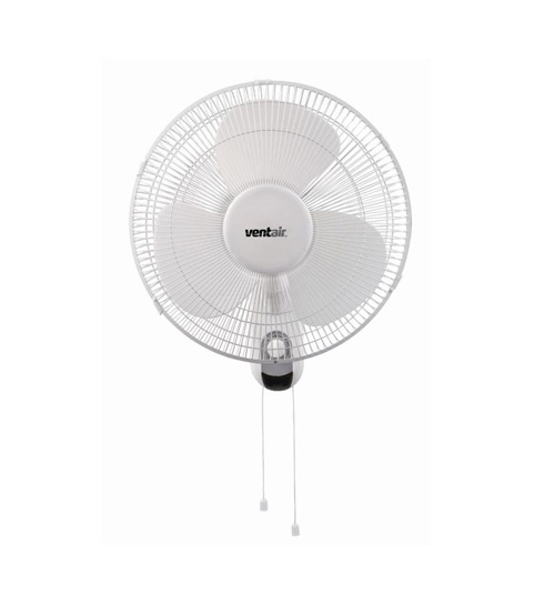 "Ventair Zephyr 15"" Wall Mounted Fan With Pull Cord - White"
